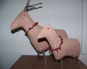 Pair of Primitive Deer with Stick Antlers and Pip Berry Collars