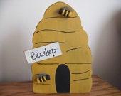 Primitive Wooden Bee Skep Woodcraft Shelf Sitter or Wall Hanger