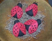 Set Of 4 Primitive Fabric Ladybug Bowl Fillers/Tucks