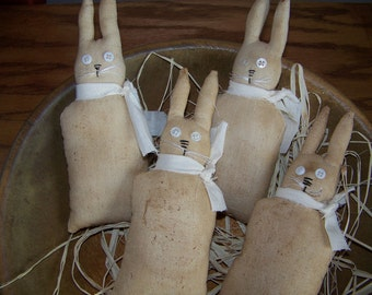 Set of 4 Primitive Spring Bunny Bowl Fillers/Tucks