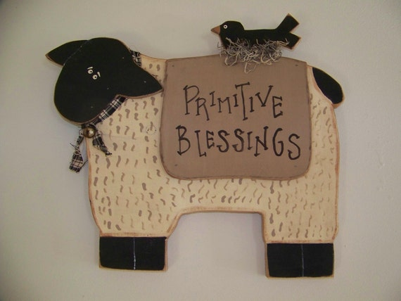 "Primitive Sheep ""Primitive Blessings"" Folksy Wood Wall Hanging"