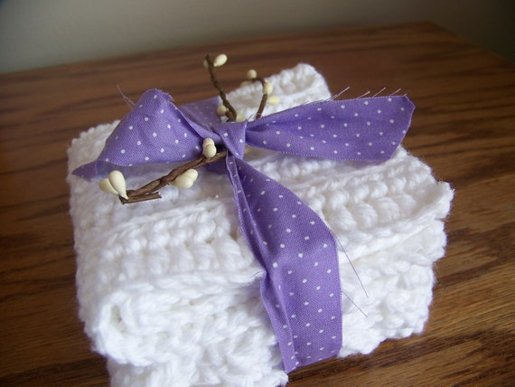 Set of 2 100 Percent Cotton White Crocheted Dish Cloths