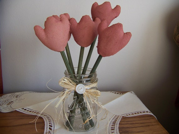 Primitive Boquet of 5 Pastel Pink Tulips for Spring