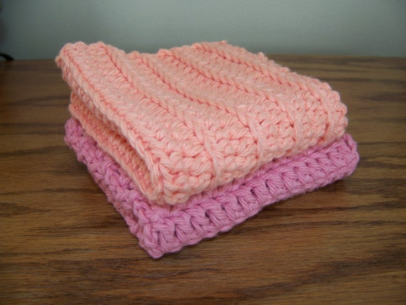 Set of 2 Summer Melon and Raspberry Colored 100 Percent Cotton Crocheted Dish Cloths