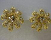Flower Gold Earrings Rhinestones Post Pierced Clear