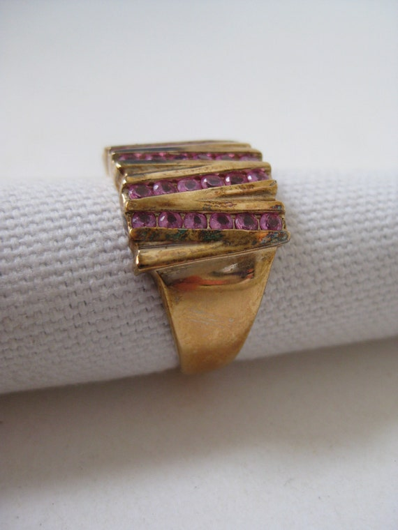 Pink Gold Ring Sterling Silver Size 10 1/4 925