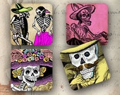 "Mexican coasters Day of the Dead decoration 4x4"" - Set of 4 SOFT coasters - Vintage Posada calaveras images (9270)"