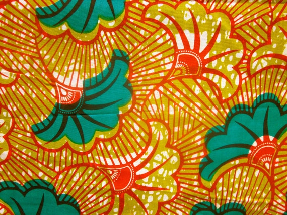 African print fabric-teal green fans