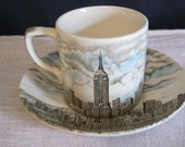 Empire State Building Brown Transferware cup and saucer by Johnson Brothers Staffordshire England