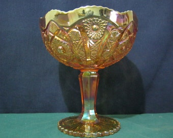 Carnival Glass Compote by Imperial Octagon Hobnail and Arch Pattern
