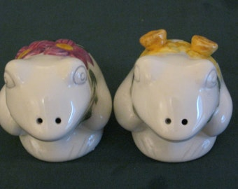 Adorable Frog shaped Salt and Pepper Shakers with raised Flower Accents