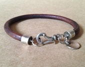Mens Leather Bracelet with awesome silver clasp
