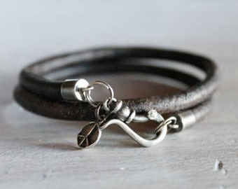 Mens Bracelet Leather Wrap with Sterling Silver - The peaceful warrior - mens jewelry wristware