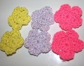 set of  6 large crochet flowers, you choose your color