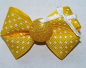 yellow polka dot doggie bow, or girl's bow