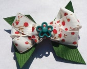Red and green rose hair bow- flower bow- summer hair clip