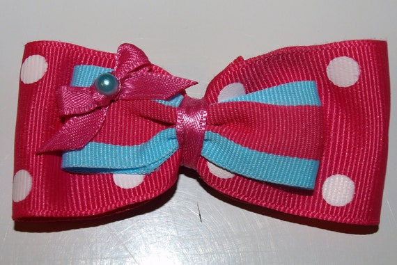 hot pink and teal bow