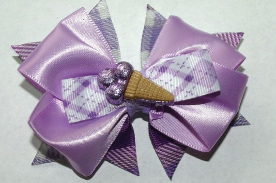 purple ice cream cone hair bow