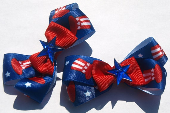 Red white and blue- pigtail bows- patriotic accessories