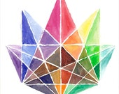 Geometric Crystal - Original Water Color Painting