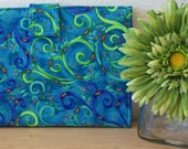 Kindle Fire or Kindle 3G Case Blue and Lime Green Peacock Animal Print- ON SALE