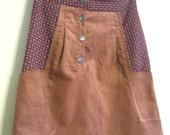 Eco-Conscious Mod Skirt. Mauve Corduroy. Size Medium/Large. FREE SHIPPING within the US.