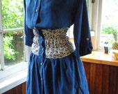 Vintage Inspired Blue Silk Dress.  X-small. Free Shipping in the US.