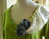 Spring Green Gypsy Summer Dress. Upcycled. Size Large. Boho Silk Roses. Stretchy. Eco-Conscious FREE SHIPPING in the USA.