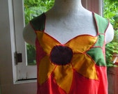 Anthropologie Inspired Up-cycled Asymmetrical Sunflower Applique Tank Top. Medium. Free Shipping in the US.
