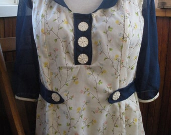 Eco-Conscious Kitsch 3/4 Sleeve Blouse with Chiffon Detail and Vintage Flower Buttons. FREE SHIPPING in the US.