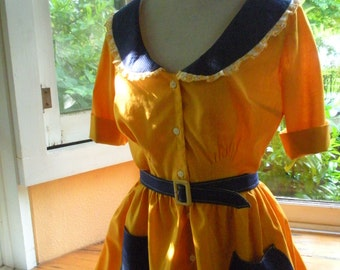 1950's Yellow Dress With Polka Dot Trim. Vintage Inspired. Size Small.  Free Shipping in the US.