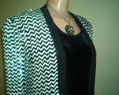 Black and White Sequined Jacket- large -Master of Ceremonies Wedding Formal Black and White Party