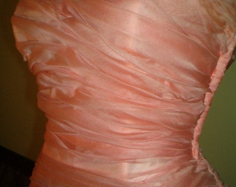 1940 Pink Strapless Silk Gown Formal Dress Medium Bombshell Cupcake Mermaid Ruffles and Bows WWII