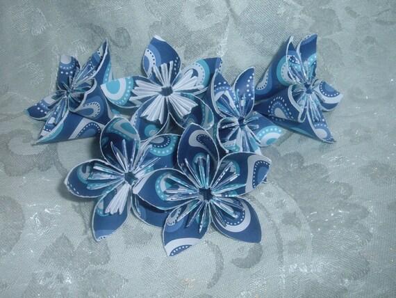 CUSTOM ORDER 6 Small Retro Blue Paper Flowers