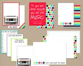 MUSIC MIX Journaling Cards for Scrapbooking or Project Life