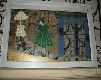 paris scene  hand painted old window