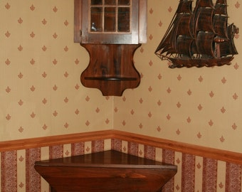 SALE was 299.00 n0w 225.00 hand carved partridge corner table and corner wall cabinet