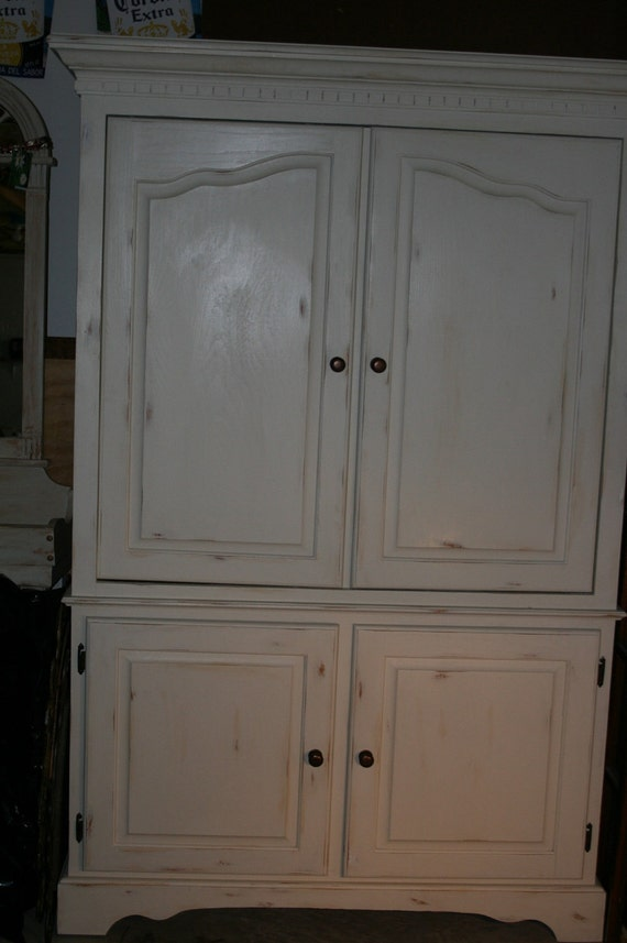shabby chic look entertainment center armoire pantry cabinet. Black Bedroom Furniture Sets. Home Design Ideas