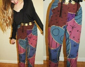 vintage 90s ABSTRACT Floral Print High Waist Pants