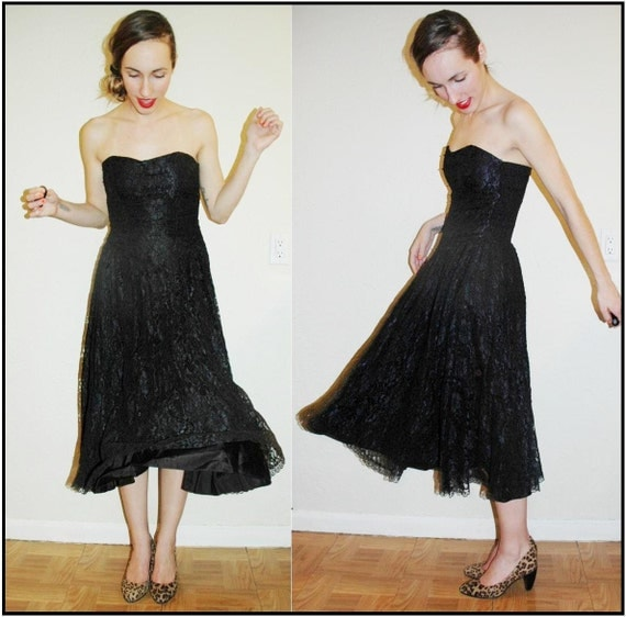 vintage 50s style LACE Black Beaded 80s Corset Dress, Strapless
