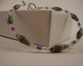 Teal and Purple Paper Bead Bracelet