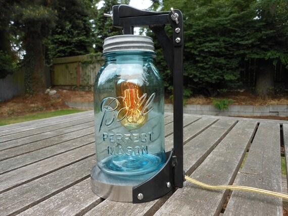 Antique Mason jar desk lamp