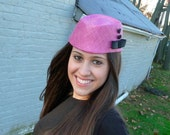 Handmade Pink Straw Cocktail Hat For Women