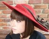 Red Hat Handmade Romantic Embossed Wide Brim Hat With Chocolate Brown Trim