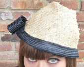 Cute Handmade Little Straw Hat With Black Trim For Women