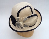 OOAK Downton Abbey Inspired Handmade Women's Fine Straw Hat In Natural With Navy Satin Trim
