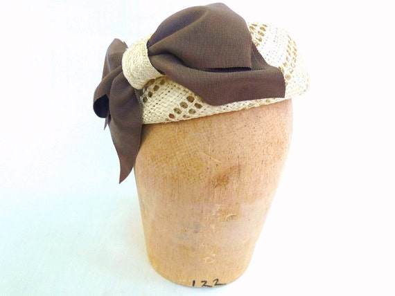 Straw Pillbox Beret in Natural With Brown Grosgrain Bow Handmade for Women