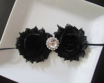 Girls Hair Accessories-Black-Shabby -Flower Headband-Wedding-Bridal-Flowers for Hair-Bridesmaid-Flower Girl