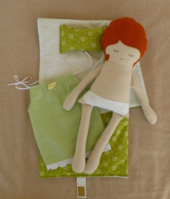 Fabric Doll Rag Doll with Sleeping Bag