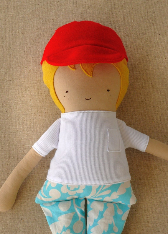 Fabric Doll Rag Doll Boy Doll with Cap